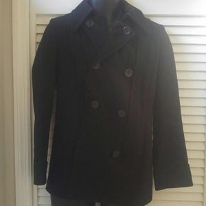 J Crew Black Pea Coat size 2